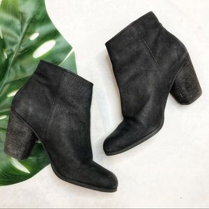 UO Bp Black Leather Heeled Booties Size 6.5
